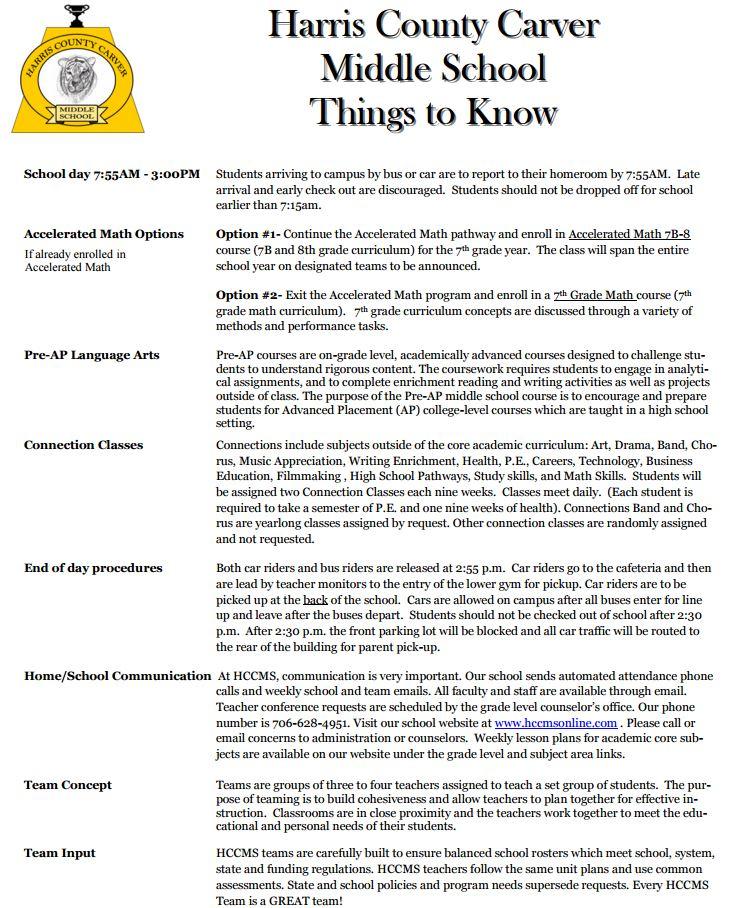 6th to 7th Grade Info / 6th Grade Transition